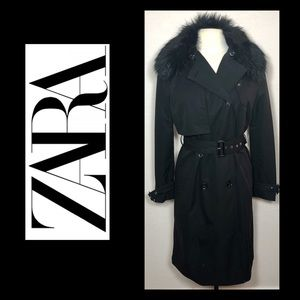Zara detachable faux fur collar trench coat